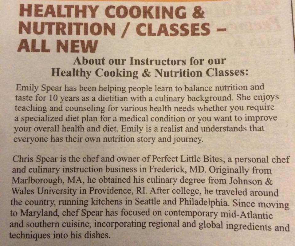 cooking classes in frederick maryland