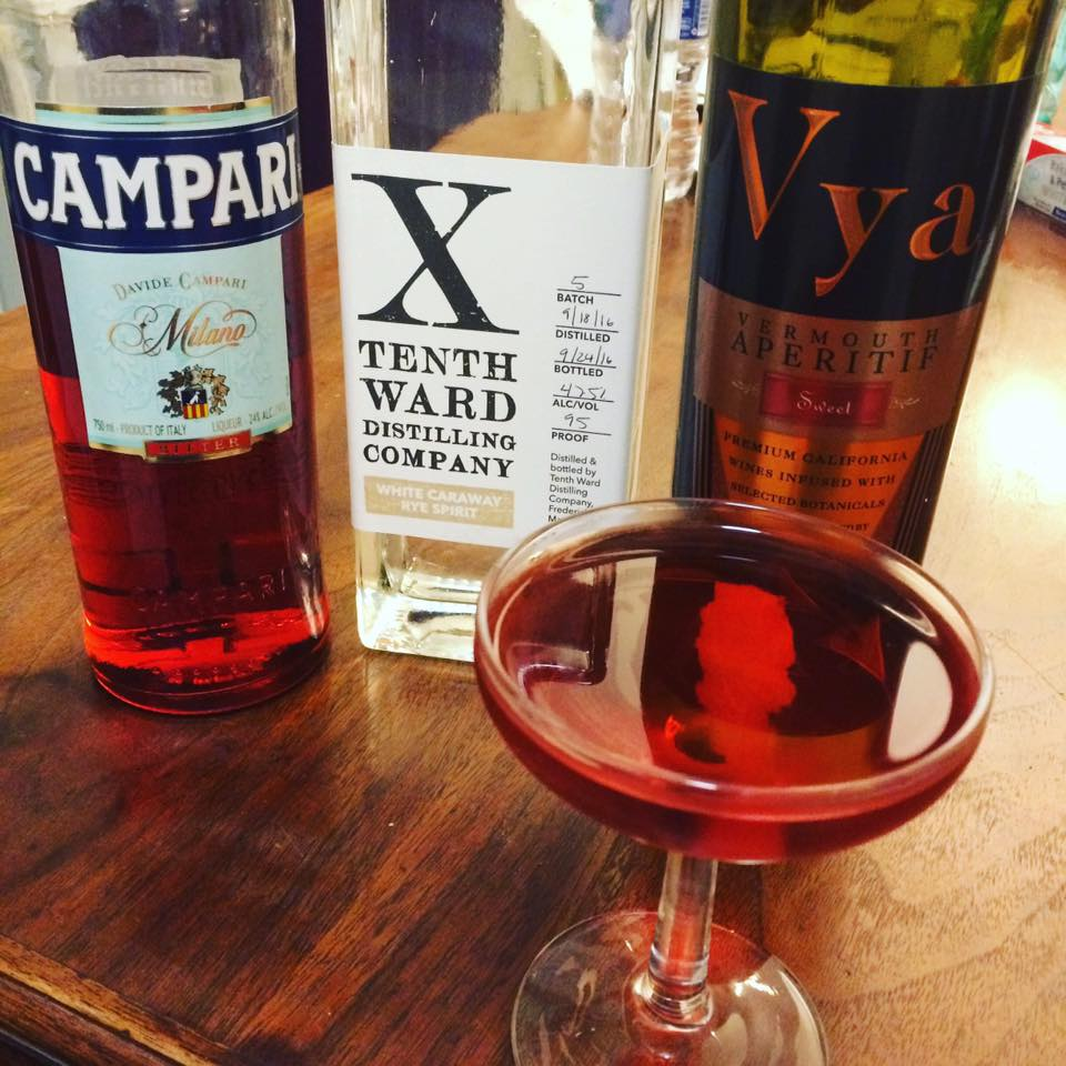 Boulevardier cocktail with tenth ward caraway rye spirit, campari and vya sweet vermouth