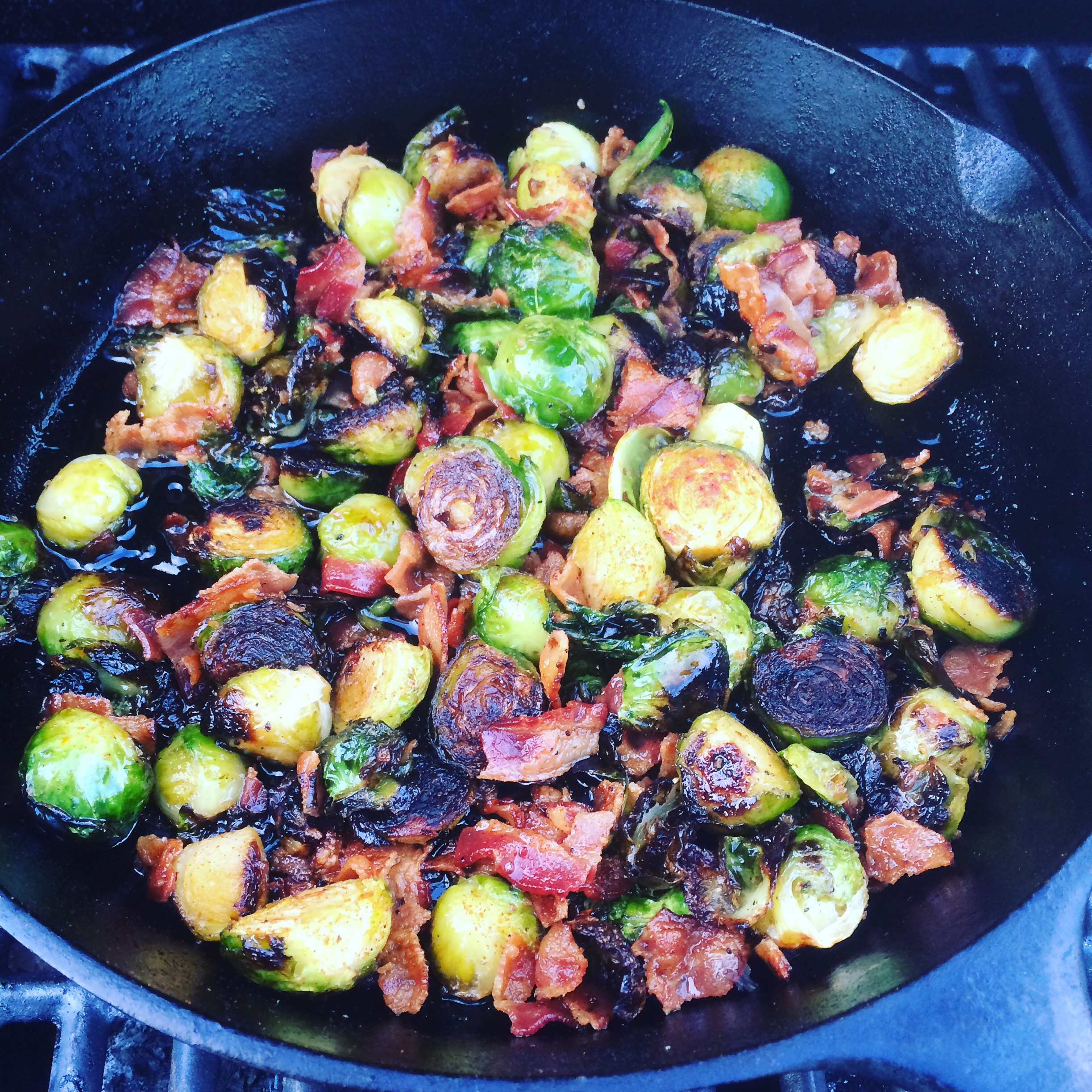 Brussels Sprouts with Bacon, Maple Syrup and Minus 8 IP8 IPA Vinegar by Frederick Maryland Chef Chris Spear