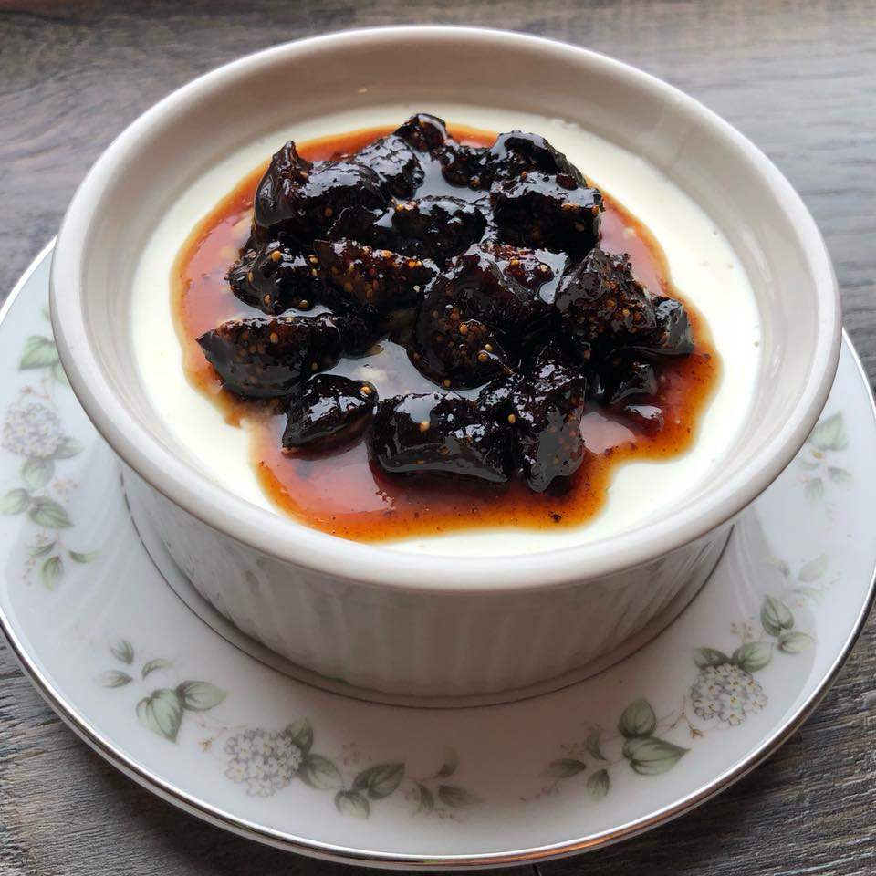 Buttermilk Panna Cotta with Berbere Caramel Figs