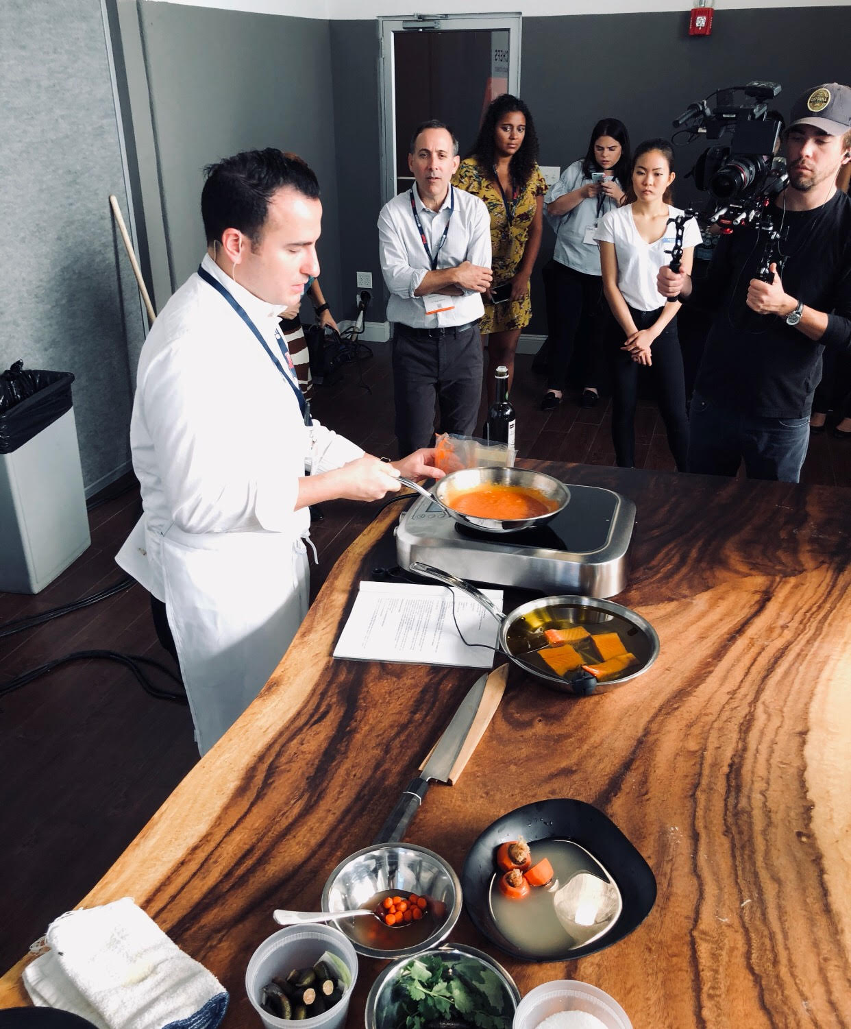 Starchefs ICC 2017 workshop with californios chef val cantu using Ora King Salmon and the breville polyscience control freak