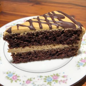 mecican chocolate cake with cookie butter frosting