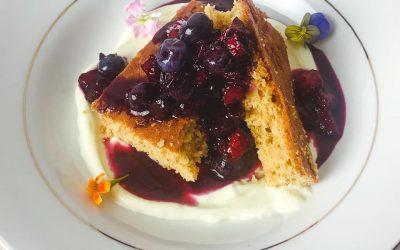 Brown Sugar Cake, Cake Batter Ricotta, Blueberry/Strawberry/Mezcal Sauce, Edible Flowers and Chili Worm Salt
