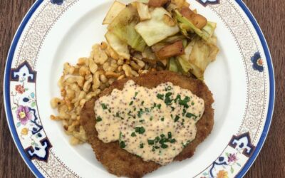 Pork Schnitzel with Mustard Cream, Spätzle and Cabbage & Apples